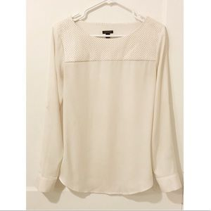 Ann Taylor Ivory Leather Chiffon Sheer Blouse